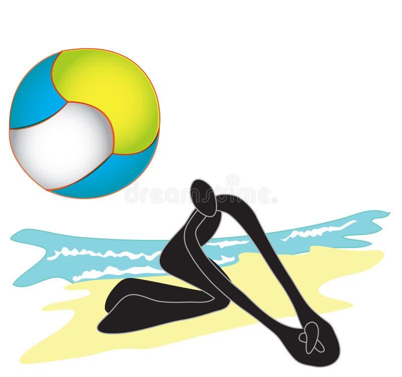 Beach Volleyball shadow man stock illustration