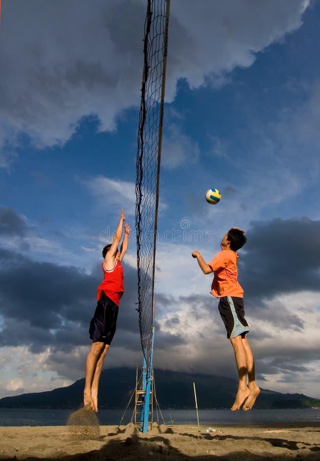 Beach Volleyball Spike Editorial Stock Photo