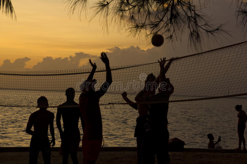Beach volleyball, sunset on the beach stock image