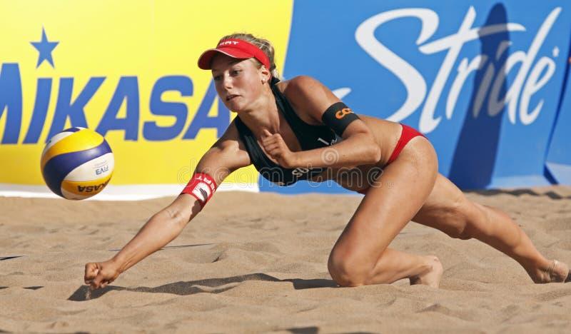 Beach volleyball switzerland ball stock photos