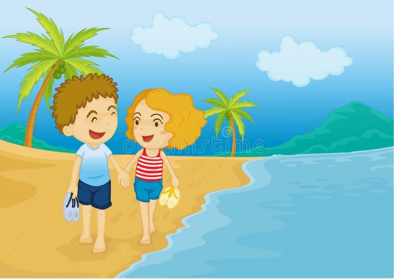 Beach walk stock illustration. Illustration of palm ...