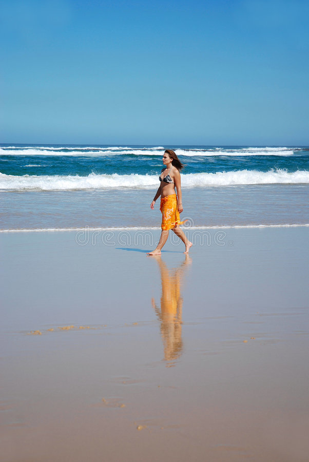 Beach Walk Woman Stock Photos