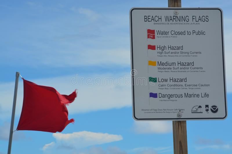 Beach warning signs and flags, Jacksonville Beach, Duval County, Florida. royalty free stock photography