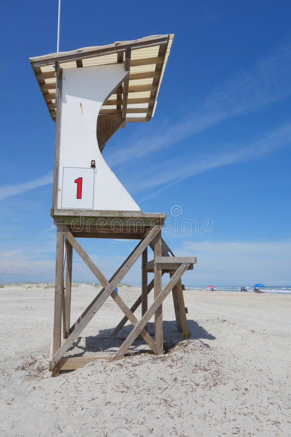 Beach lifeguard stand. This sea watch tower is in use throughout the summer on Wrightsville Beach, North Carolina stock images