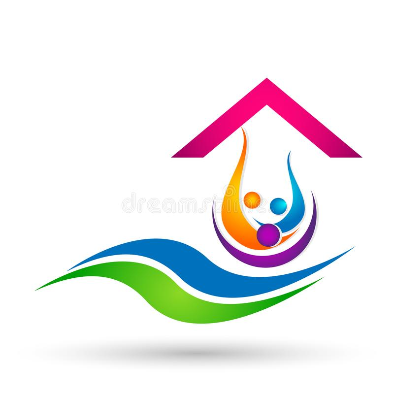 Beach water wave home people team work union wellness celebration boat concept symbol icon design vector on white background. Beach water wave home house people royalty free illustration
