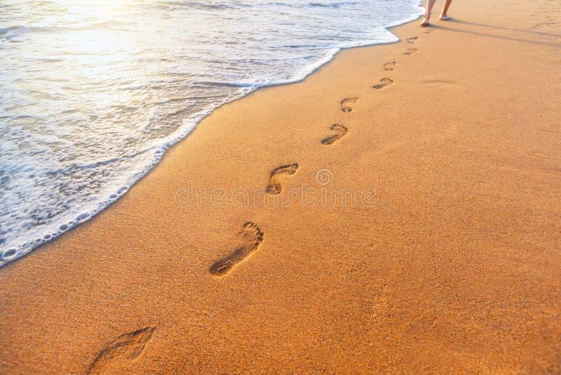 Beach, wave en voetafdrukken bij zonsondergang stock fotografie