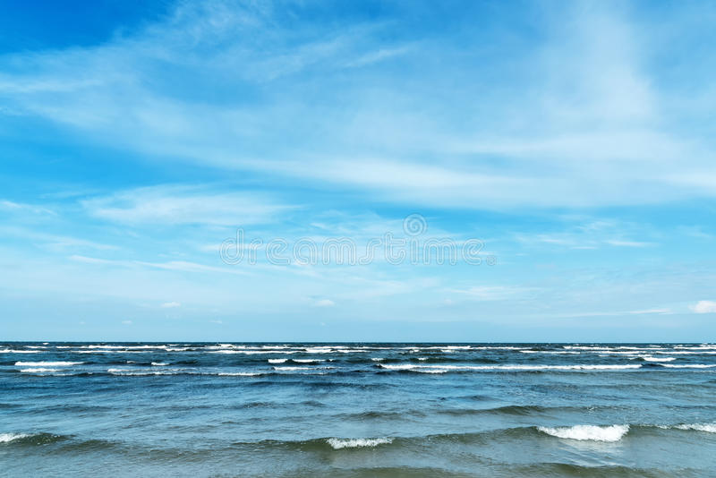 Beach and waves seen at the Baltic Sea stock photo