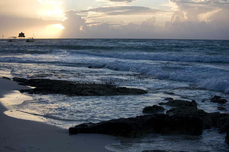 Download Beach And Waves At Sunrise On Riviera Maya Stock Photo - Image: 6006952