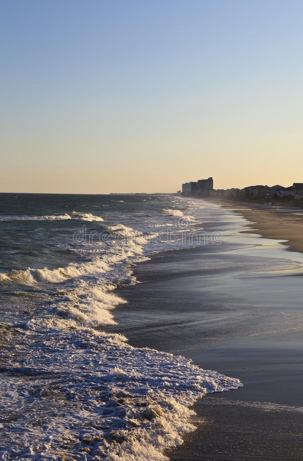 Download Beach Waves At Sunset In South Carolina Stock Image