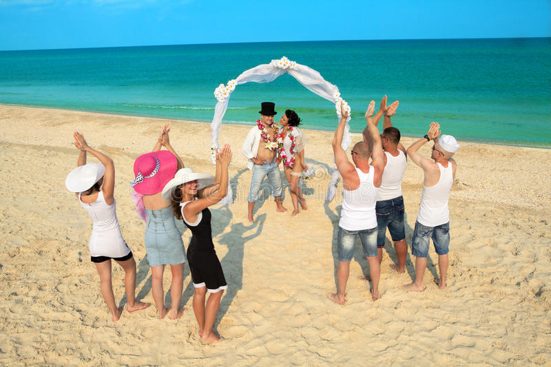 Download Beach wedding stock photo. Image of archway, garland - 20546270