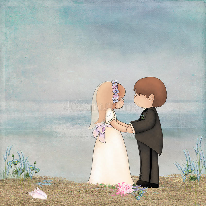 Beach Wedding. Cute bride and groom saying vows on the beach vector illustration