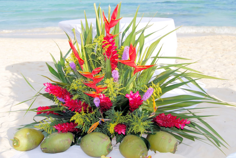 Beach Wedding Altar. Floral arrangement in front of the altar on the beach prior to a wedding stock images