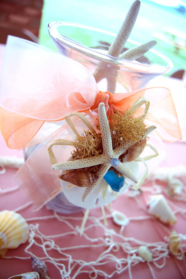 Beach wedding. Centerpieces for beach wedding stock photo