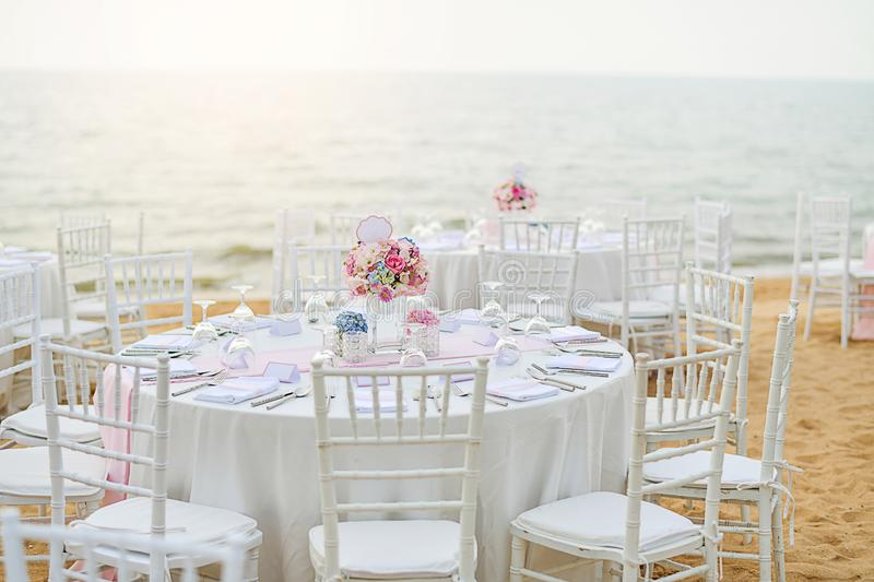 Wedding table setup at Beach Wedding Ceremony on the beach with royalty free stock photos