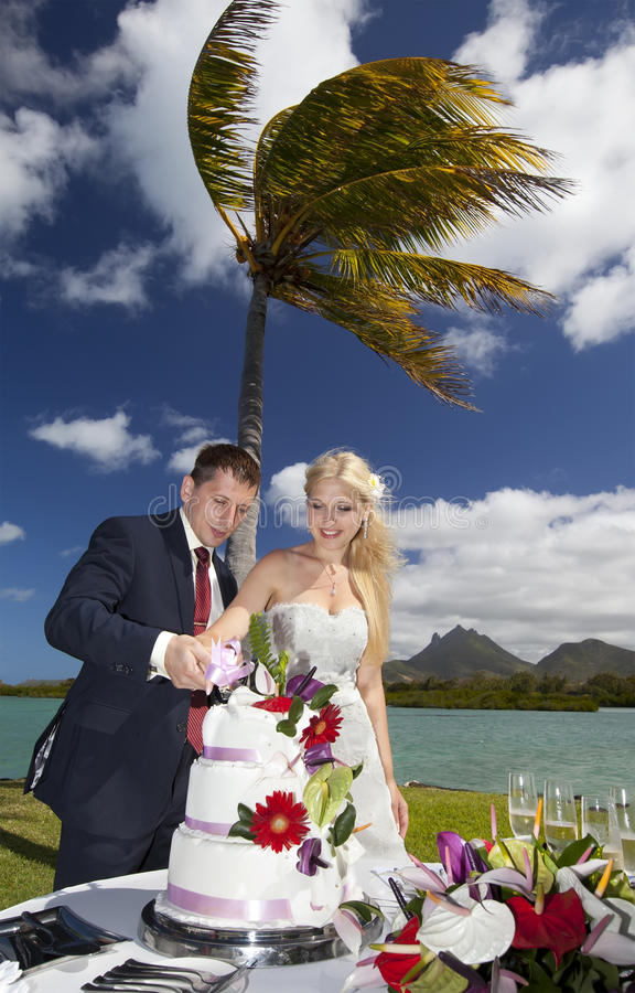 Beach wedding ceremony with cake in Mauritius. Couple cuts the cake for a wedding ceremony stock image