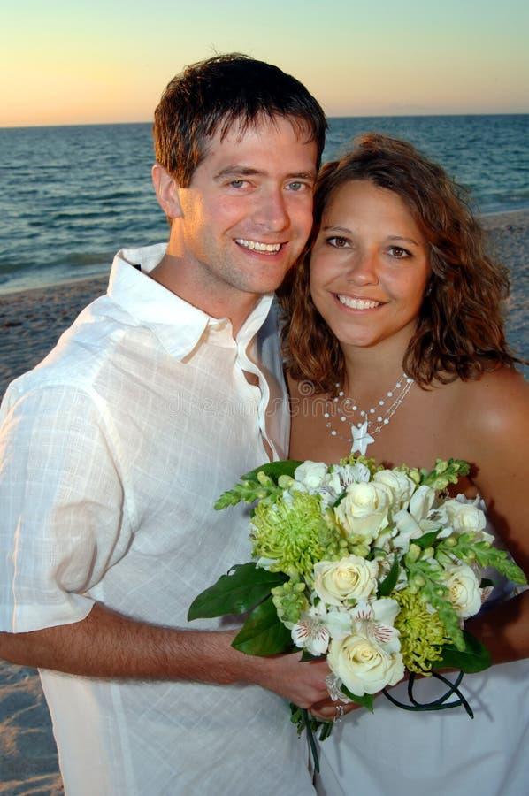 Download Beach wedding couple stock image. Image of dress, beautiful - 7376767