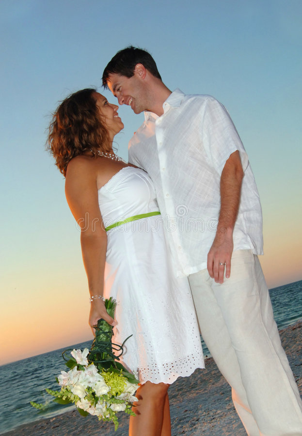 Download Beach wedding couple stock photo. Image of bouquet, marriage - 7376846