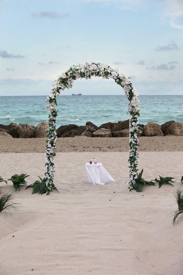 Beach Wedding - overlooking ocean and rocks stock photo
