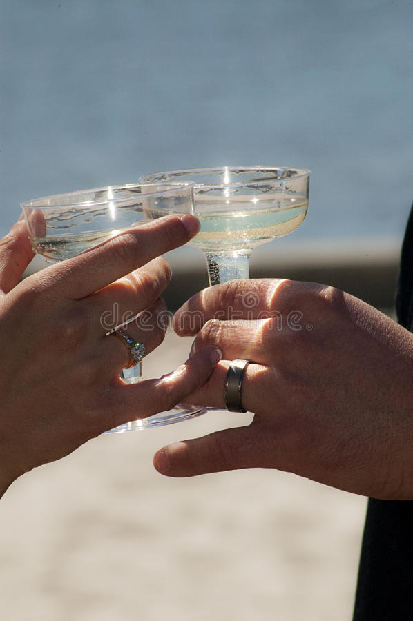 Beach Wedding Toast Royalty Free Stock Photography