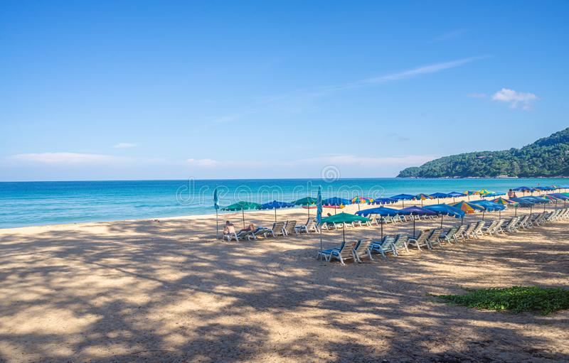 Beach with white sand and blue sea and sky in summer season stock image
