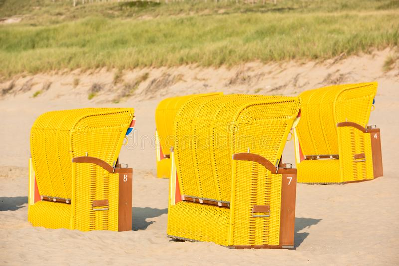 Beach wicker chairs strandkorb. In Northern Germany royalty free stock photos