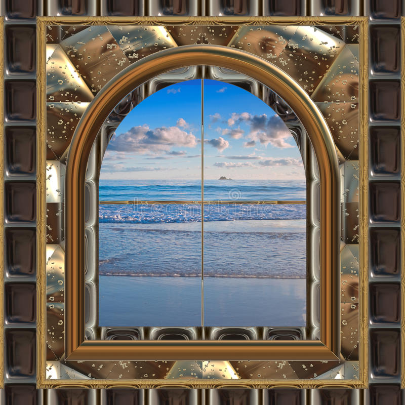 Download Beach through the window stock vector. Illustration of outside - 10854049