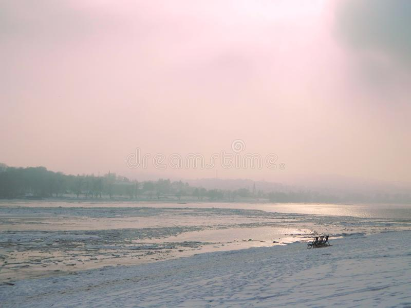 On the beach in winter royalty free stock images