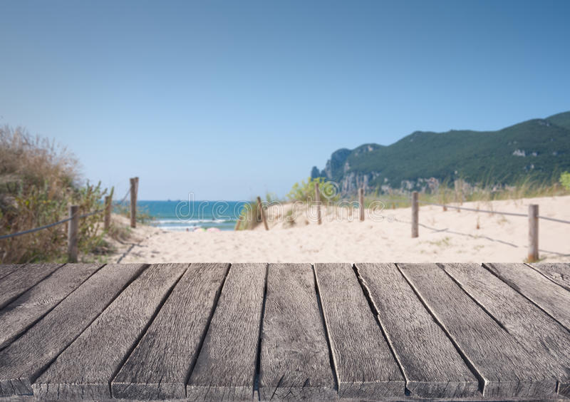 Download Beach And Wooden Plank Stock Photo - Image: 83714682