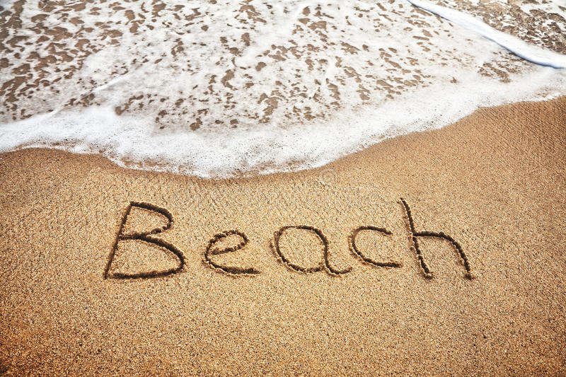 Download Beach Word On The Sand Royalty Free Stock Photography - Image: 25686167