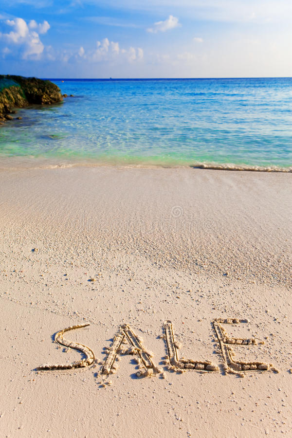Download On A Beach It Is Written SALE Stock Image - Image of freedom, landscape: 20140681