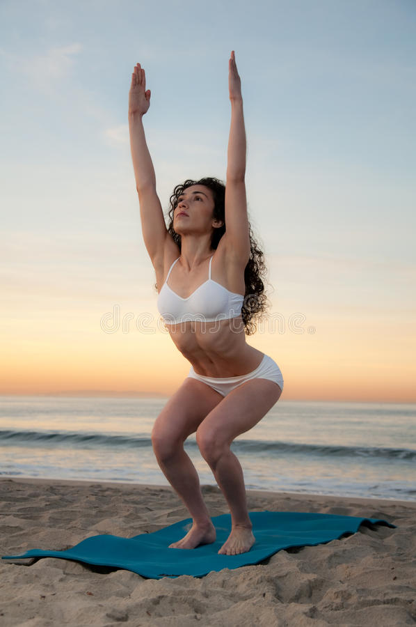 Download Beach Yoga stock photo. Image of female, adult, balance - 17865114