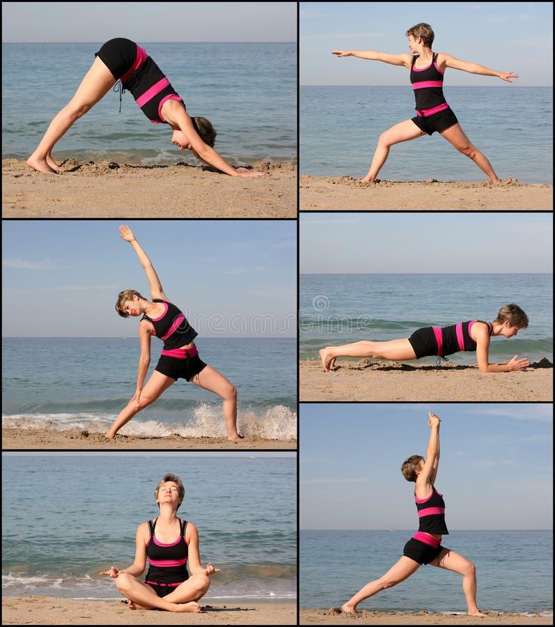 Beach yoga stock photography
