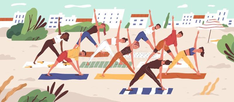 Beach yoga class flat vector illustration. People in sportswear doing yoga asanas on sandy beach. Healthy lifestyle. Active recreation outdoors. Open air royalty free illustration
