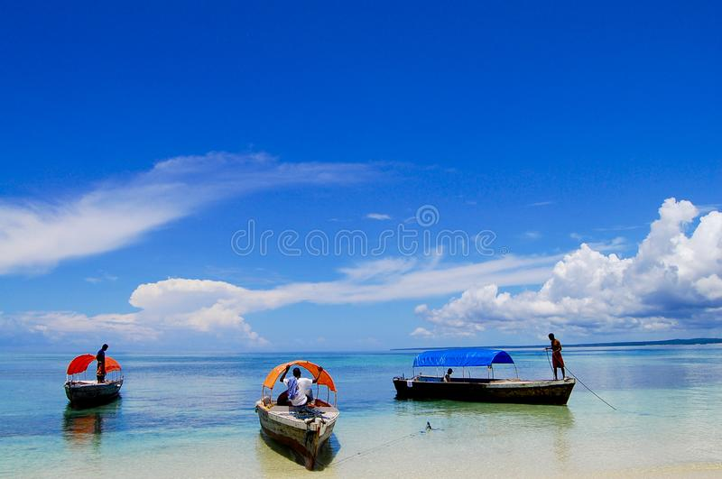 Beach in Zanzibar. White Sand Beach in Zanzibar - Tanzania royalty free stock photography