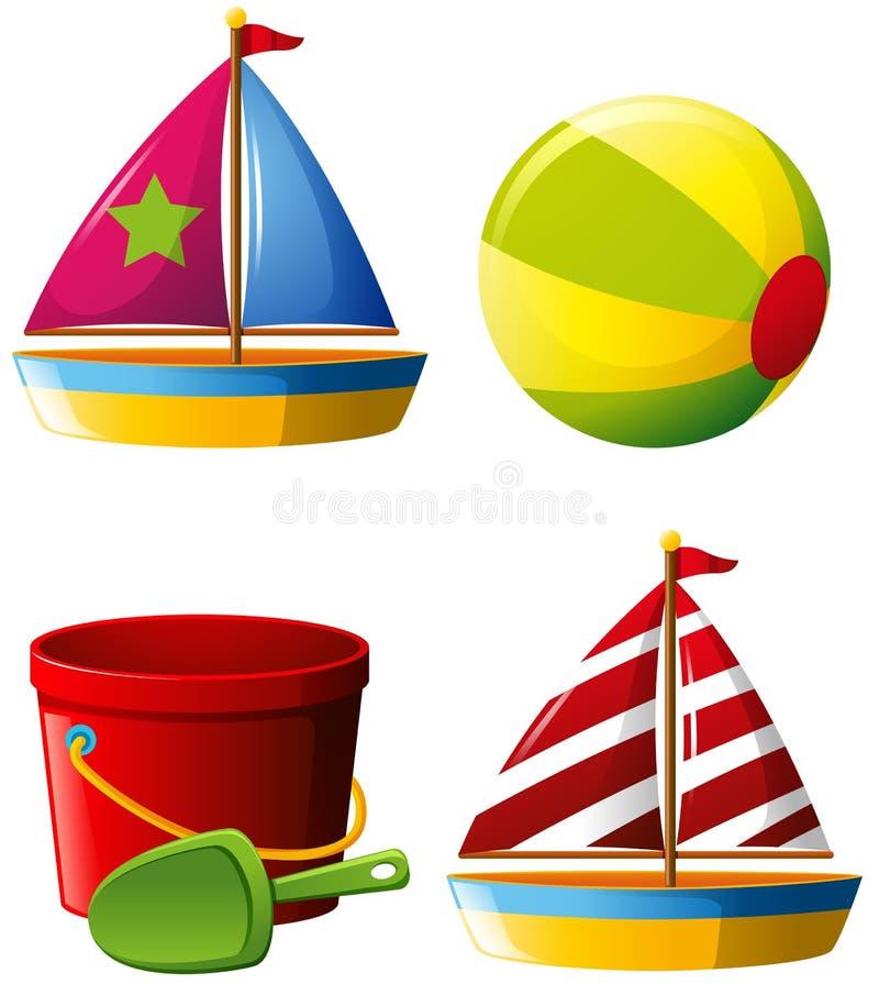 Beachball i inne plażowe zabawki ilustracja wektor