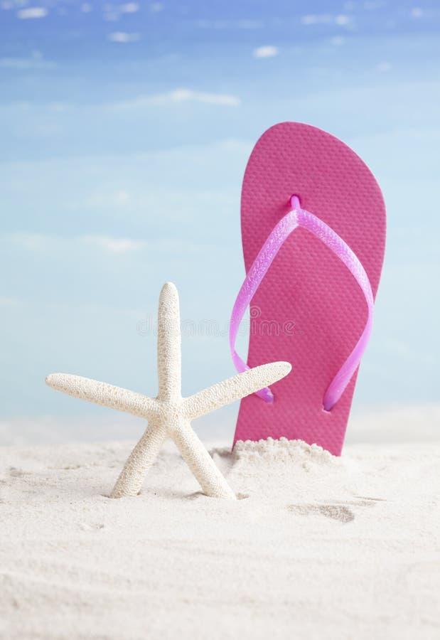 Beachball und Flipflop, Sommerferienhintergrund lizenzfreie stockfotos