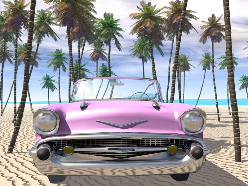 Beached cadillac vector illustratie