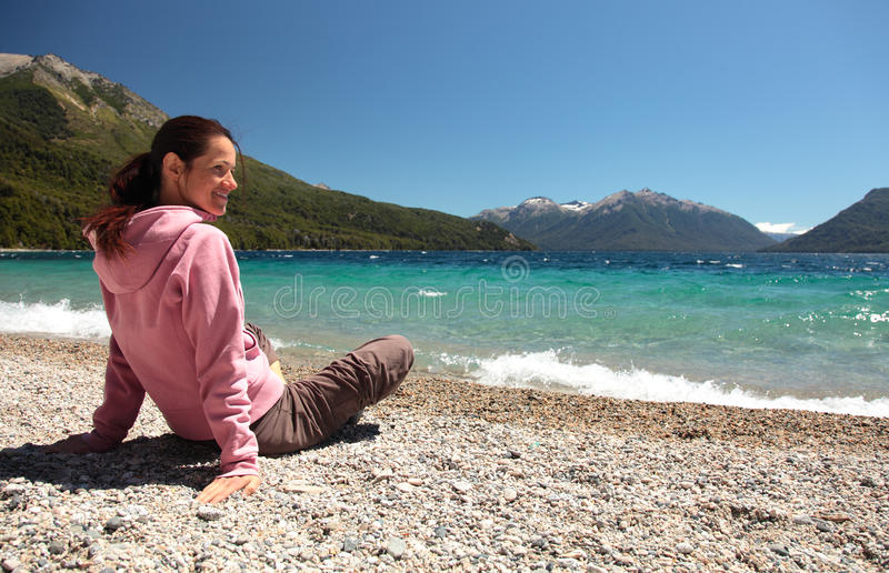 Beached and Happy stock image