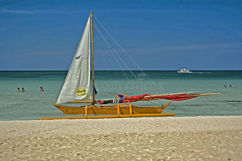 Beached Outrigger, Boracay Island, Philippines royalty free stock photography