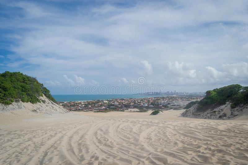 Beaches of Brazil - Genipabu RN. Genipabu is a beach with a complex of dunes, a lagoon and an environmental protection area APA located close to Natal, one of stock photos