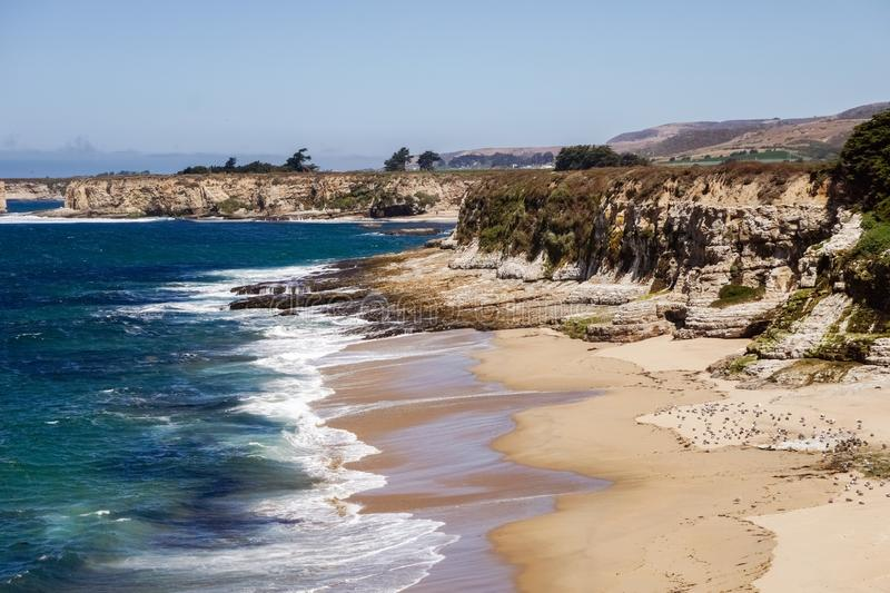 Beaches and cliffs on the Pacific Coast, Wilder Ranch State Park close to Santa Cruz, California royalty free stock images