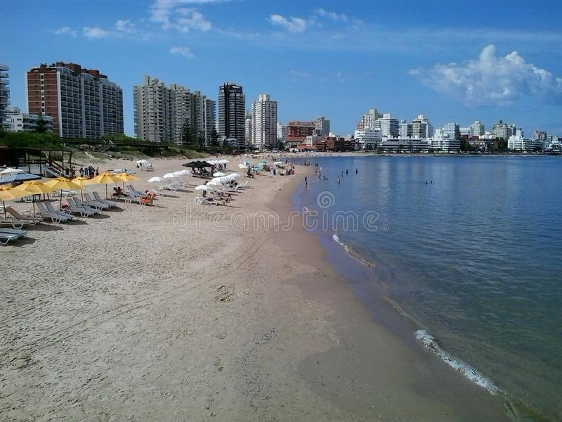 Beaches. On the coast of Brazil, showing in the background the city and its buildings Exceptional place for vacation royalty free stock image