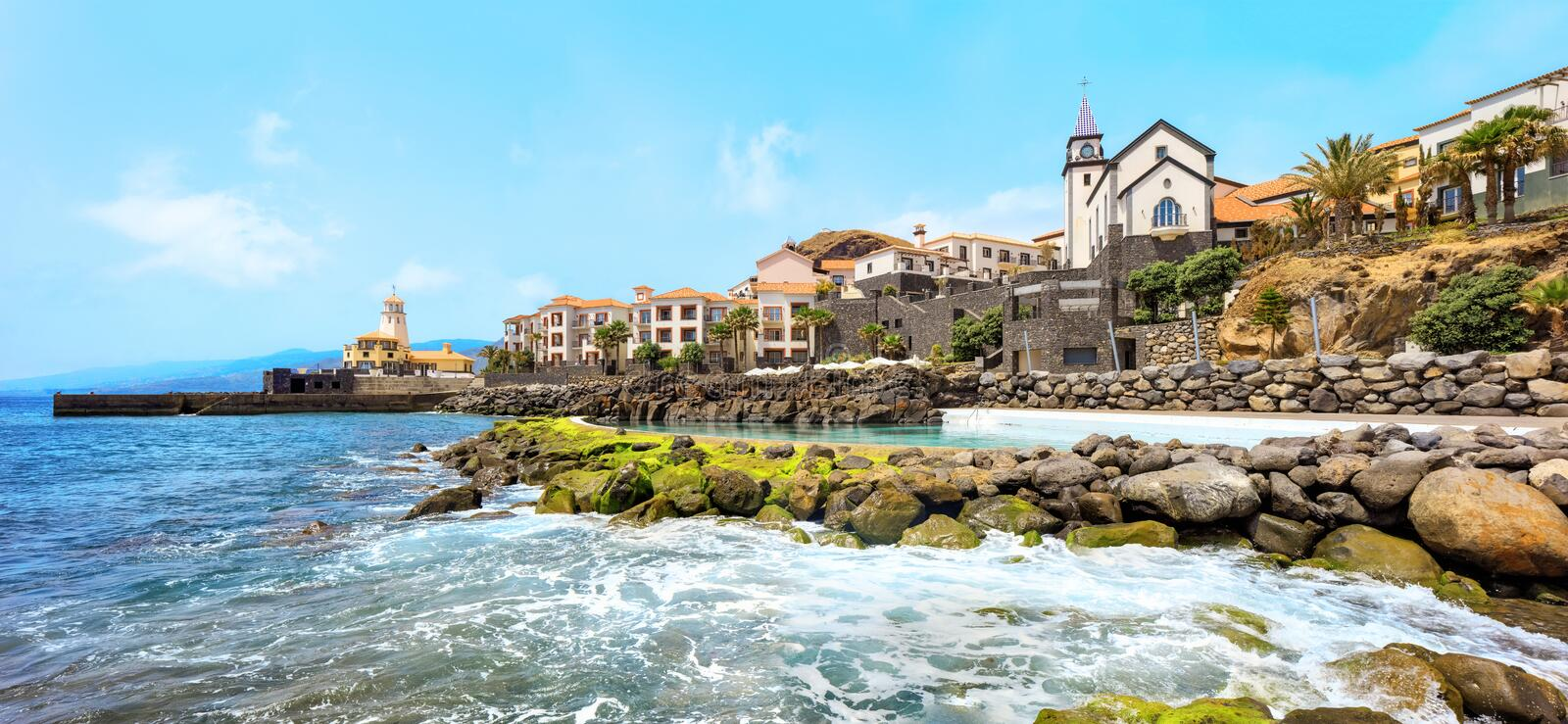 Beaches of Madeira. Cliff view panorama of Quinta do Lorde village near Canical in Madeira island, Portugal stock images