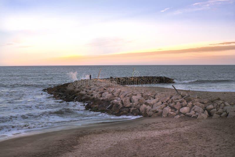 Marine landscape Mar del Plata , Argentina. Beaches in Mar del Plata , Argentina  Fisher in the quay royalty free stock photo