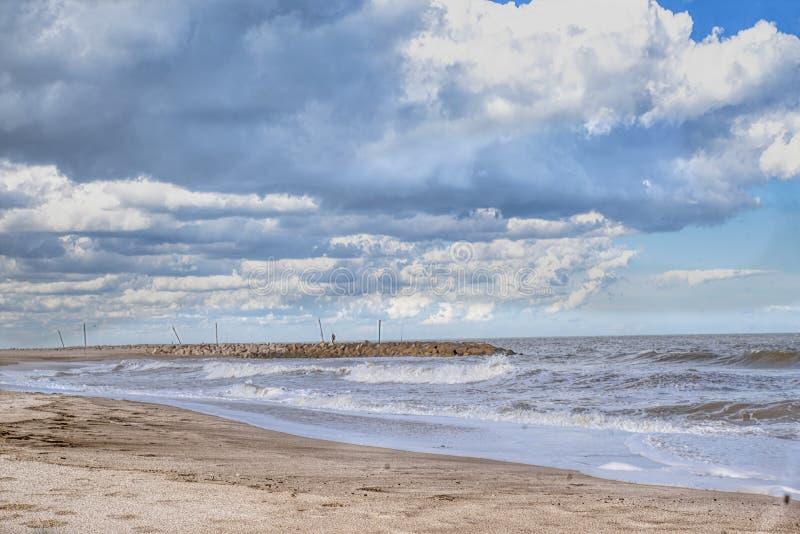 Marine landscape Mar del Plata , Argentina. Beaches in Mar del Plata , Argentina  Fisher in the quay stock images