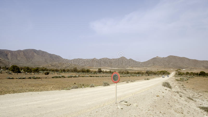 Beaches of St. josè, cabo de gata, Andalusia, Spain, europe, view. View of the road leading to the famous beaches of St. jos royalty free stock photography