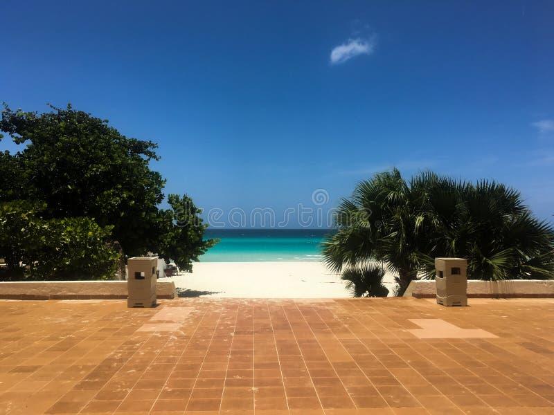 Beachfont patio in Varadero, Cuba royalty free stock photo