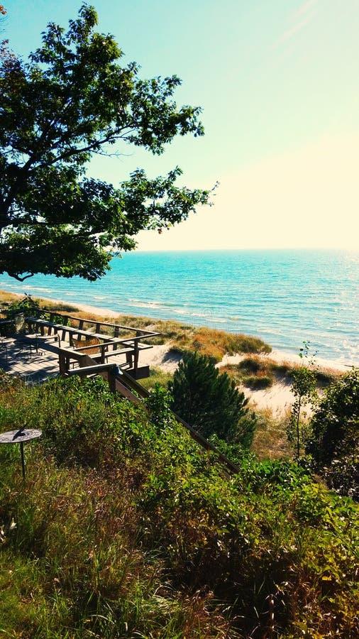 Beachfront Lake Michigan arkivfoton