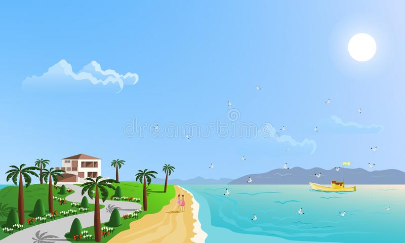 The beachfront location is home to green hills surrounded by palm trees vector illustration
