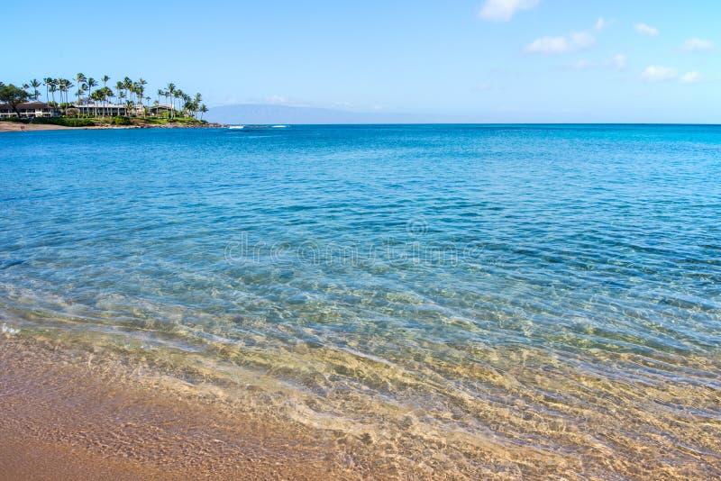 Beachfront at Napili Bay Lahaina Maui Hawaii stock photography